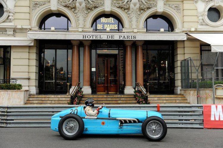 Joseph Otto Rettenmaier passes Hotel de Paris in his 1936 Maserati V8RI