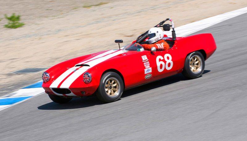 Into the Corkscrew driven by Pat Fitzsimons - 1963 Elva Courier.