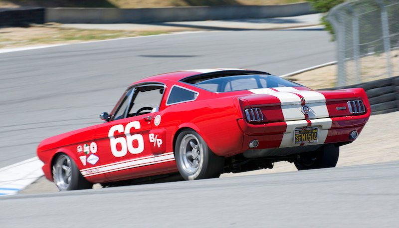 Down the Corkscrew goes the 1966 Shelby GT 350 of Mark Cane.