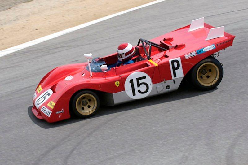 1971 Ferrari 312PB driven by Ernie Prisbe top of the Corkscrew.