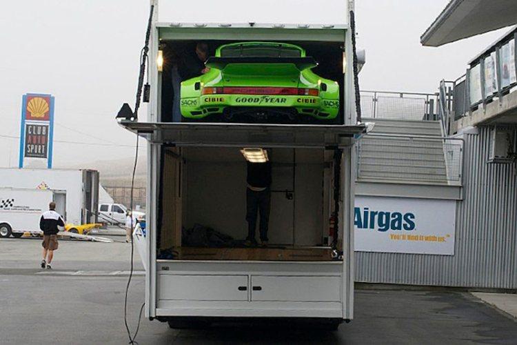 Porsche 911 RSR comes off the Canepa truck.