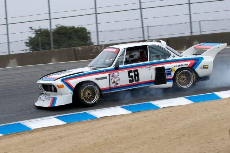 Henry Schmitt checks out the brake bias on his 1974 BMW 3.5CSL Batmobile.