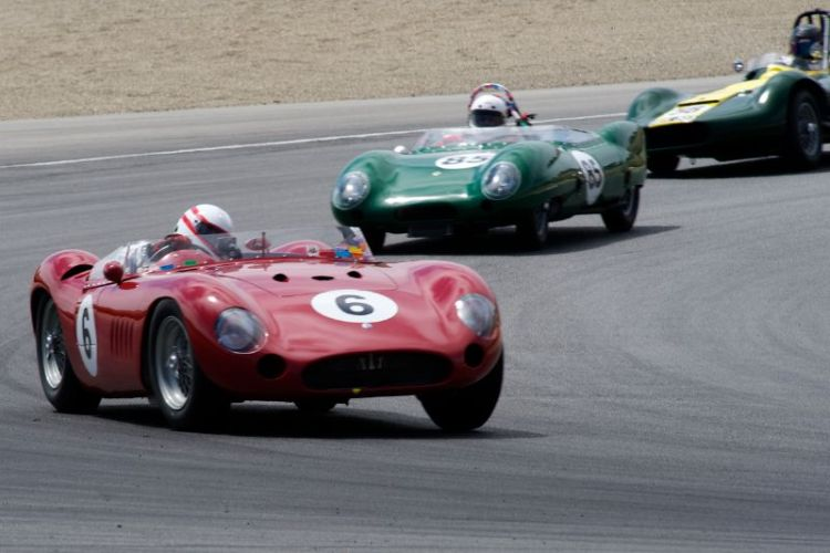 Erickson Shirley's 1957 Maserati 300S leads Lotus Eleven of Stewart Smith and Lister Maserati of John 'Chip' Fudge.