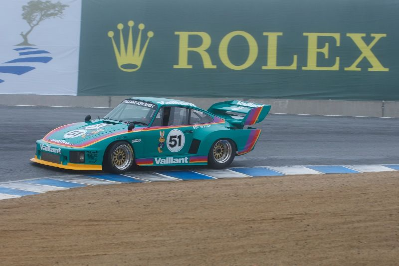 Foggy, wet track greets Richard Griot's 1977 Porwsche 935 K3.