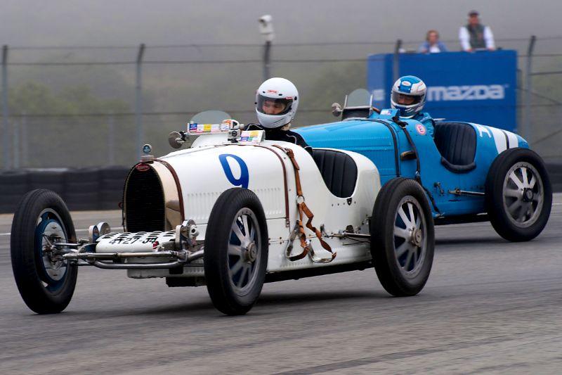 Andrew Larson in a 1927 Bugatti Type 37A, followed by 1927 Bugatti Type 35B of Richard Longes.