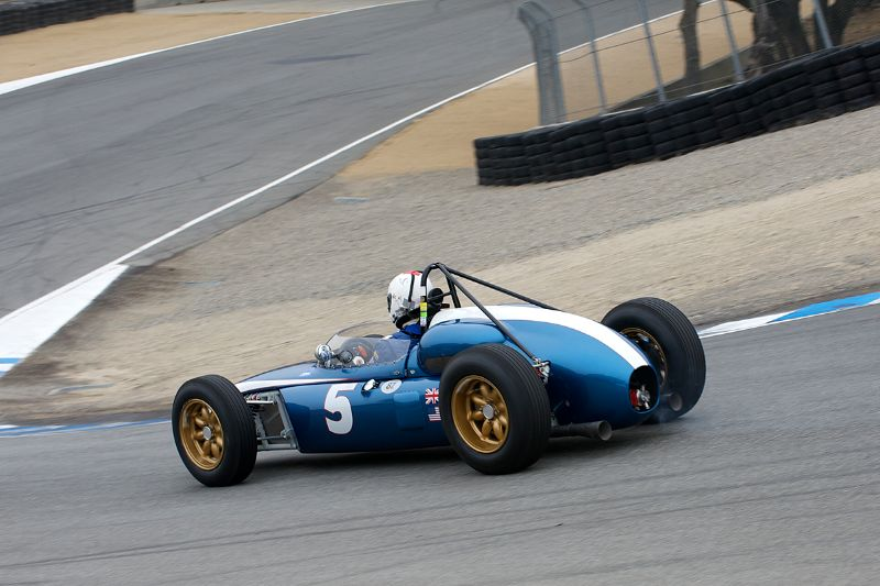 Down the Corkscrew goes William Cotter in his 1961 Scarab F-1.