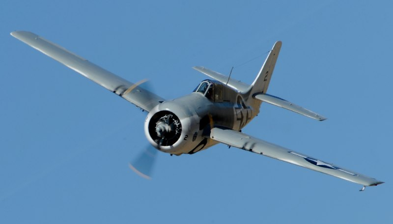 Unlimited.  Grumman FM-2 Wildcat, 'Air Biscuit'. Brian Sanders.