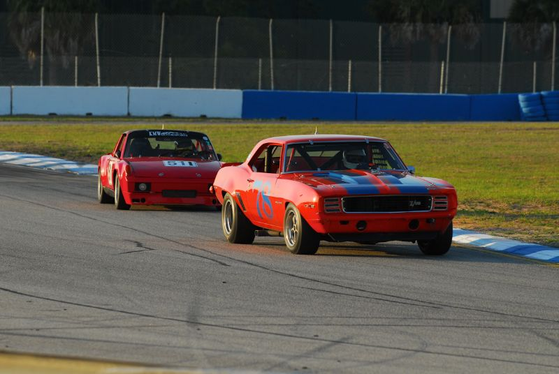 1969- Camero Z28 of Richard Lind chased by the #511- Porsche 914/6 of Kevin Wheeler.
