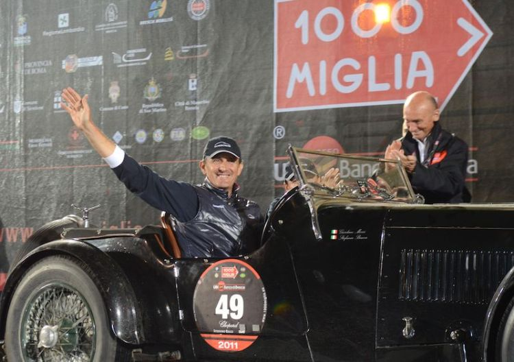 Mille Miglia 2011 winning team of Giordano Mozzi and Stefania Biacca in their 1933 Aston Martin Le Mans.