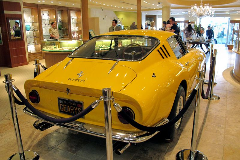 Bruce Meyer's Ferrari 275 GTB/4 makes for a cozy display fit in the fashionable Gearys of Beverly Hills store one block over from Rodeo on Beverly Drive.