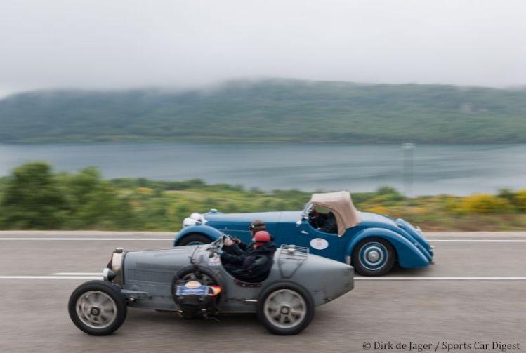 Bugatti T35 passing 1937 Bugatti T57S Corsica Roadster sn 57531