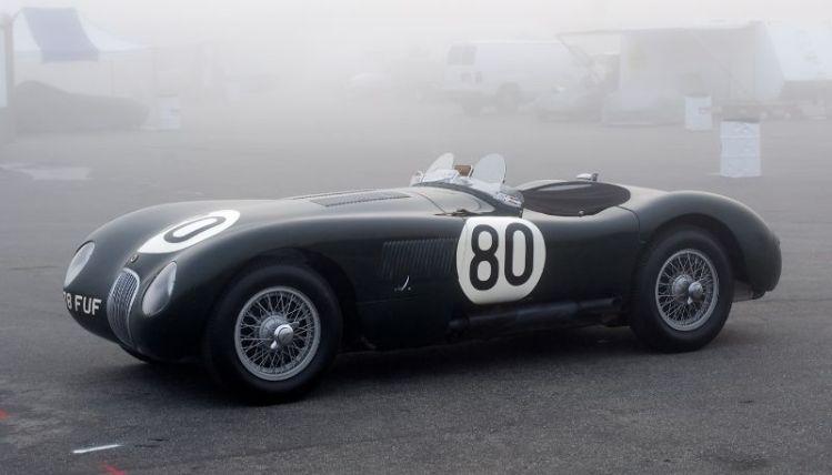 Pre-Reunion Saturday. Bohlander's C Type Jaguar in the pits Saturday morning.