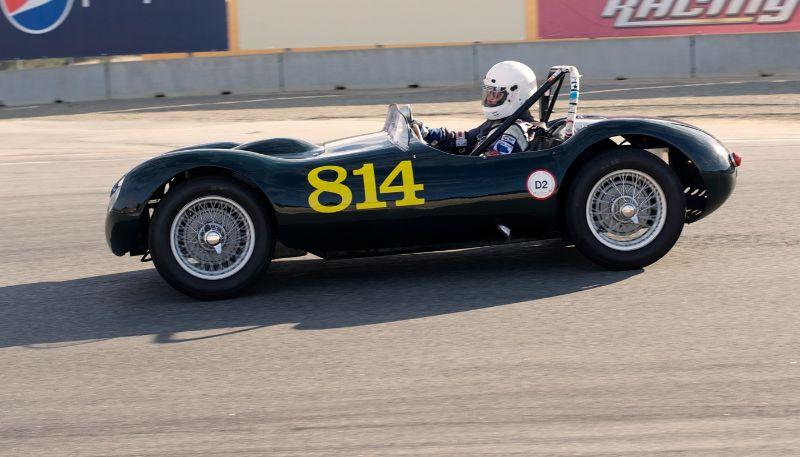 Kevin Adair, 1955 Elva Mk 1.