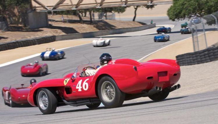 Pre-Reunion Saturday. Cris Cox, 1958 Ferrari 250 Testa Rossa in the Corkscrew.