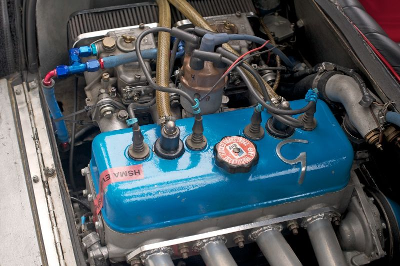 The engine is Sharon Wardman's 1963 Rene Bonnet D'jet.