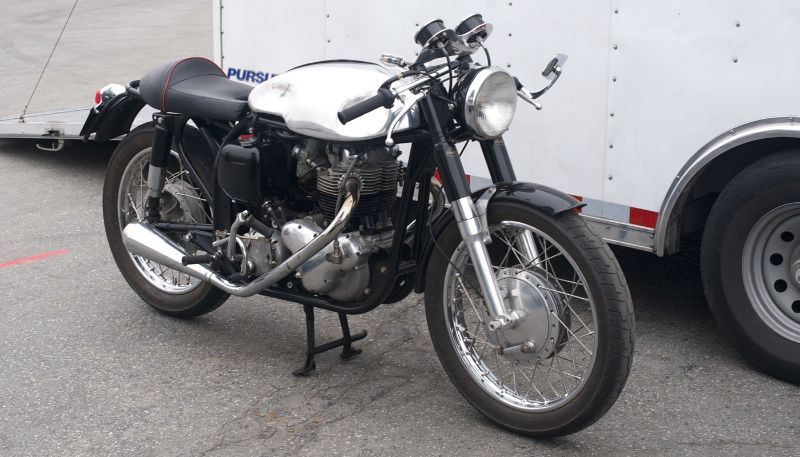 Pre-Reunion,Friday. 750cc Norton Atlas. Many of the day bikes in the pits.