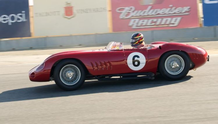 Pre Reunion Sunday Morning. Jon Shirley's Maserati 300S in turn eleven.