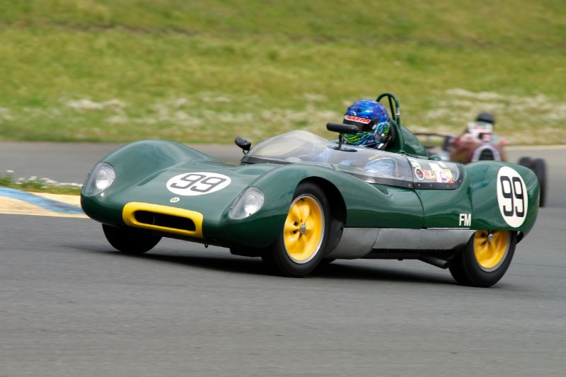 Friday afternoon practice. Group 1 Thor Johnson's 1959 Lotus 17 up the hill into two.