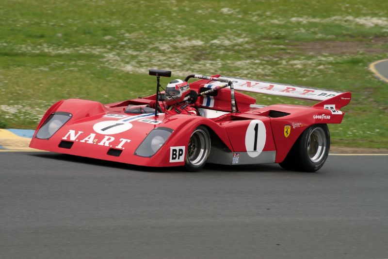 Friday afternoon practice. John Goodman's 1972 Sparling Ferrari 312.
