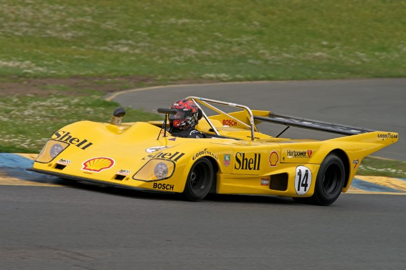 Friday afternoon practice. Mike Thurlow in his 1973 Lola T294.