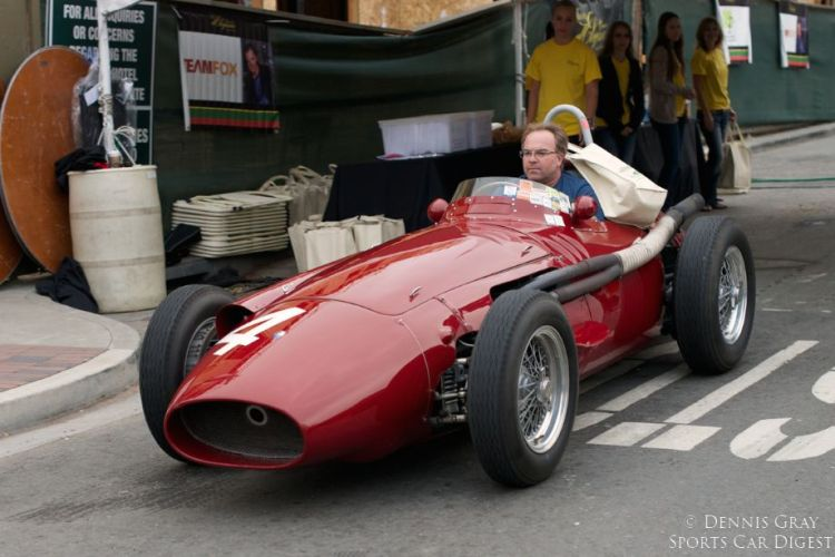 2014 Danville Concours. Another early arrival. Shawn Thomas in the Maserati 250F.