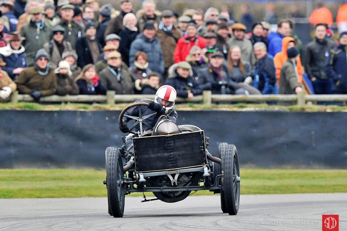 Crossed-up 1905 Darracq 200hp at the Goodwood Members Meeting (photo: Tim Scott)