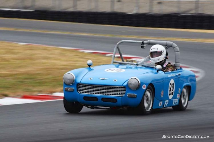 Dave Franks in his 1957 Austin Healey Sprite during  Portland Historic Races 2015