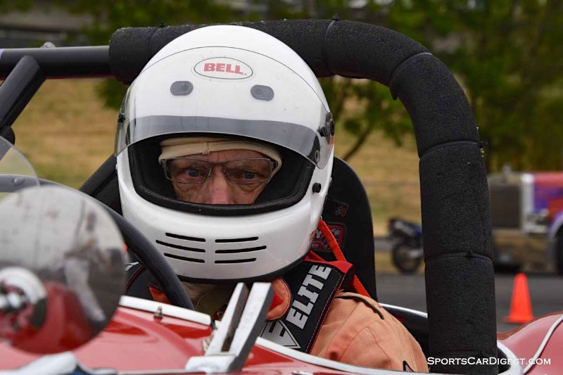 Larry Paterson inside the 1955 Austin Healey 100M at Portland Historic Races 2015
