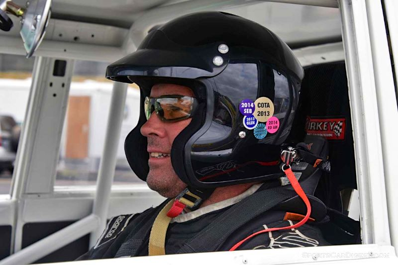 Martin Beaulieu inside the 1971 Datsun 510 during Portland Historic Races 2015