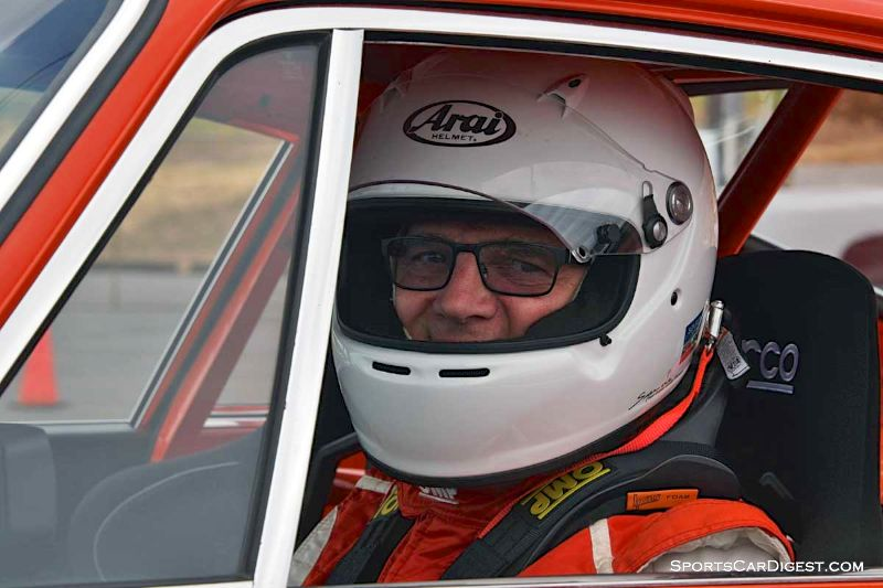 Dick Loofburrow inside his 1972 Porsche 911S at Portland Historic Races 2015