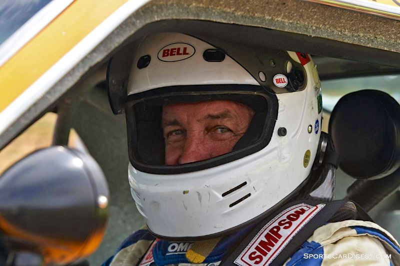 Jim Hague inside the 1970 Ford Mustang Boss 302 at Portland Historic Races 2015