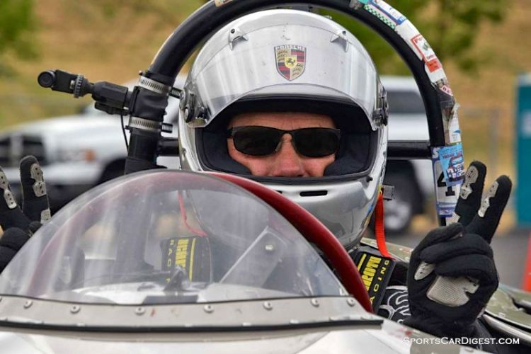 Cameron Healy inside the 1953 Porsche Cooper Pooper at Portland Historic Races 2015