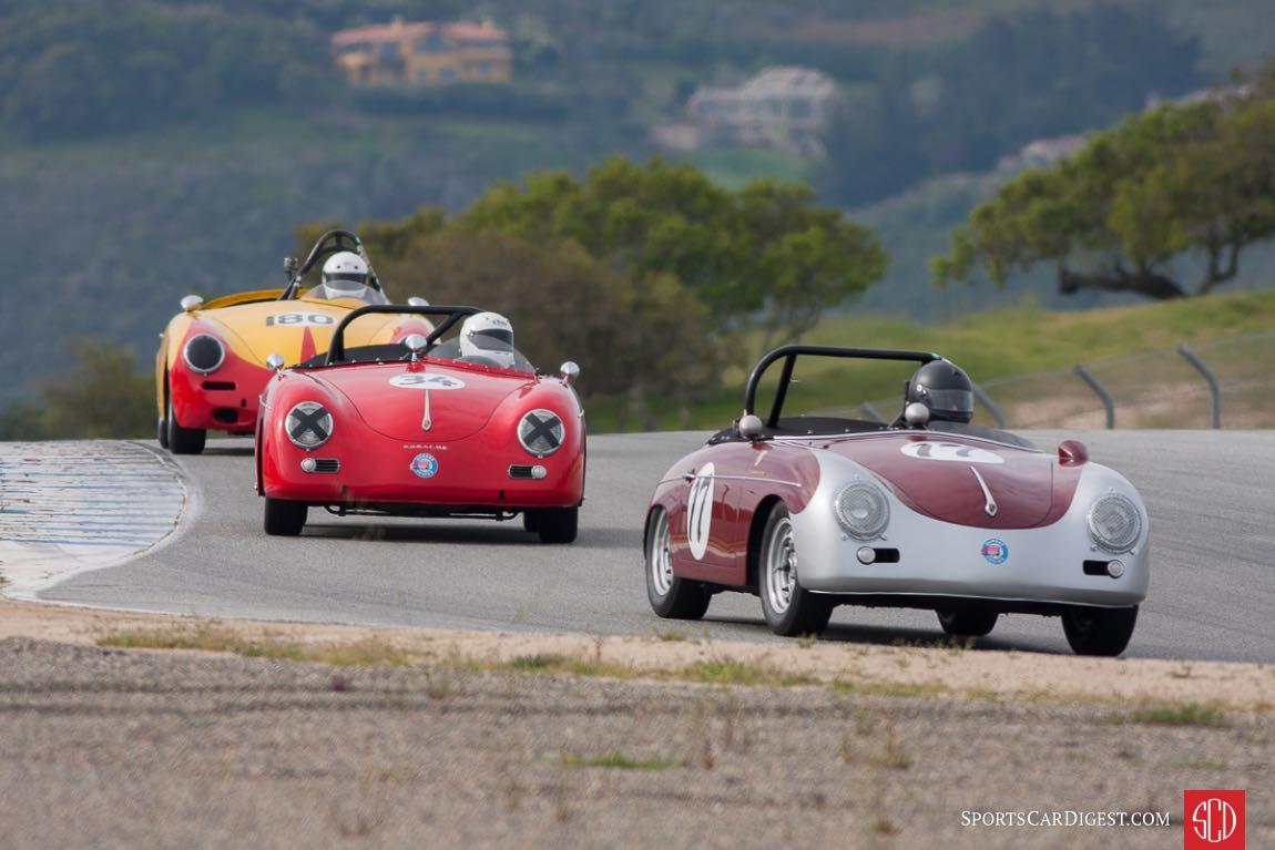 (F-B) Max Jamiesson, 1960 Porsche 356 Super 90, Chuck Christensen, 1959 Porsche 356, Bob Clucas, 1960 Porsche 356