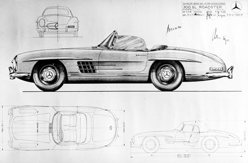 Mercedes-Benz 300 SL Roadster (W 198 II, 1957 to 1963). Drawing dated 29 December 1955.