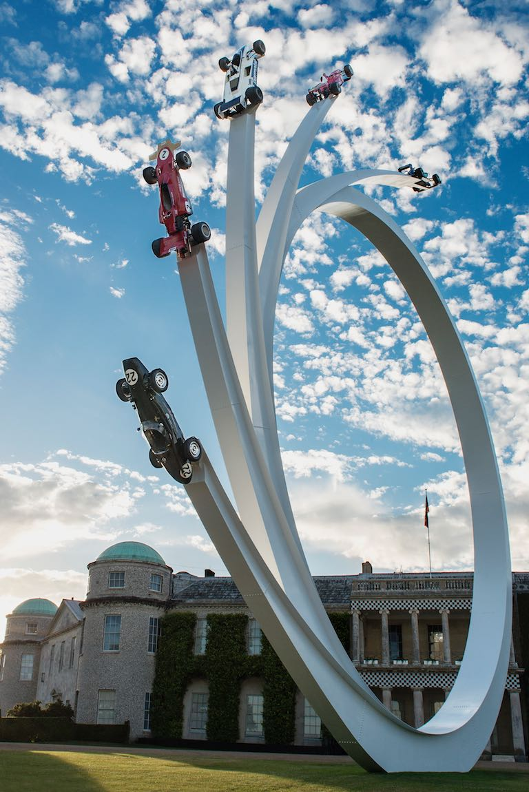 This year's sky-sweeping Central Feature by sculptor Gerry Judah is in celebration of the life and career of Bernie Ecclestone.