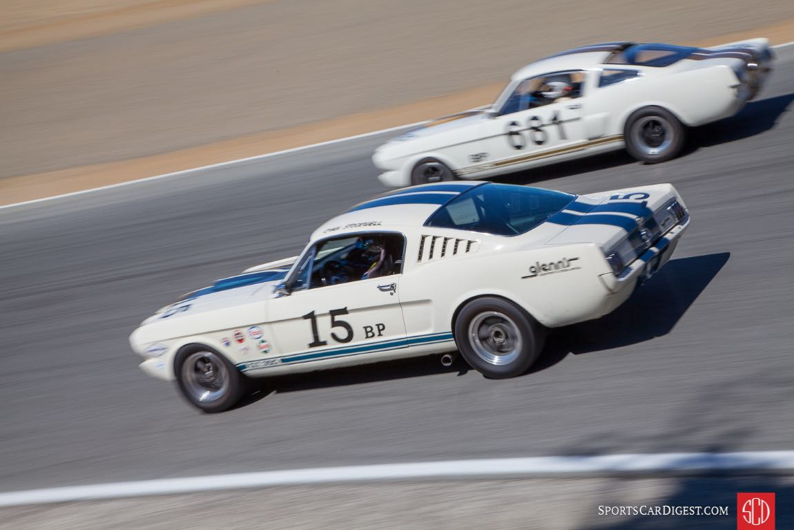 Bob Stockwell - 1965 Ford Mustang on the inside of Craig Conley - 1966 Shelby GT350
