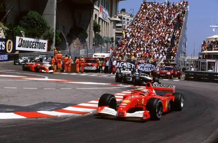Monaco Grand Prix Monte Carlo, Monaco 24th-27th May 2001 Michael Schumacher, Ferrari, Leads Mika Hakkinen, West McLaren Mercedes, (photo: courtesy of LAT Images)