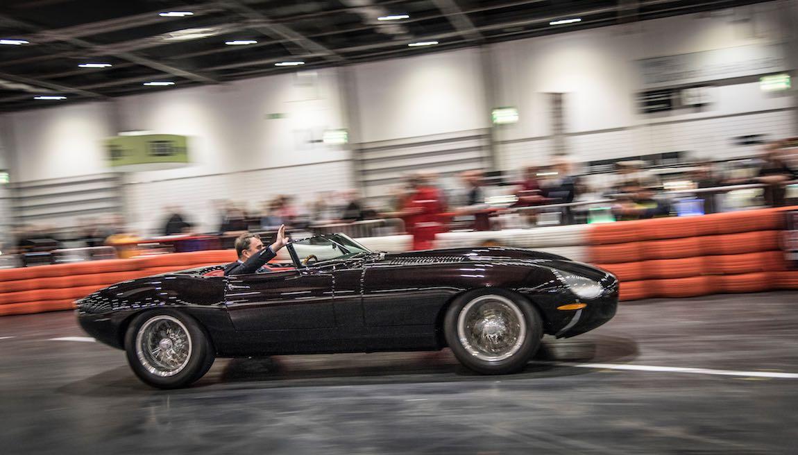 Nigel Mansell CBE in that Jaguar E-Type Eagle Speedster
