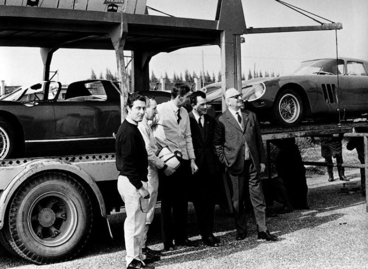 Enzo Ferrari with Scarfiotti, Parkes, Surtees and Vaccarella at the Modena airfield during a practice session