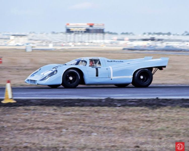 "One of the two Porsche 917 ""T"" or training cars at Daytona in 1970. Fred Lewis photo."