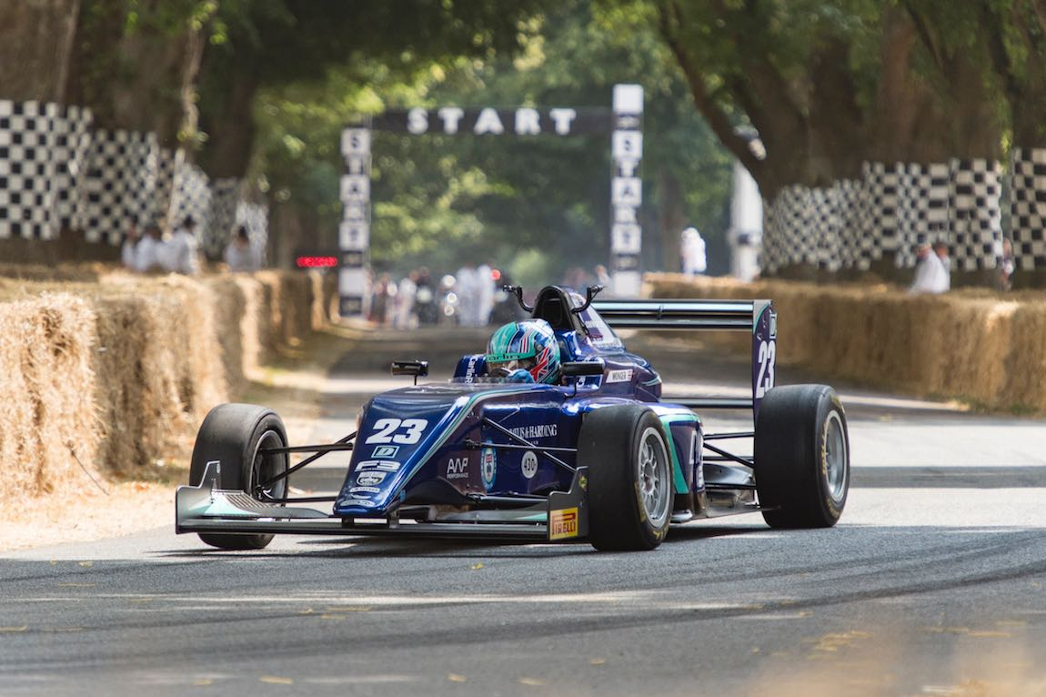 Billy Monger driving a Formula 3 car turns into the first corner on the Hillclimb at the Goodwood Festival of Speed 2018 (photo: Matt Sills)