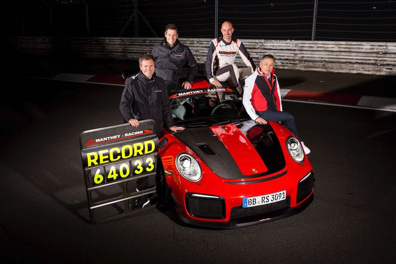 (l-r): Martin Raeder, Nicolas Raeder (both CEO Manthey Racing), Lars Kern ( Porsche development driver), Eugen Oberkamm (Director Motorsport Complete Vehicle Engineering)