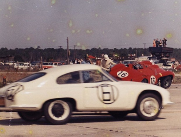 Archie Scott Brown's Lister tangled with Gendebien's Ferrari on only the 3rd lap. The Ferrari sat on top of the Lister, as the Brown/Yoland DB passed by. Gendebien recovered and finished 2nd.