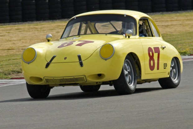 356 Porsche driven by Mike Zubko accelerating out of Turn 12 down into Turn 1.