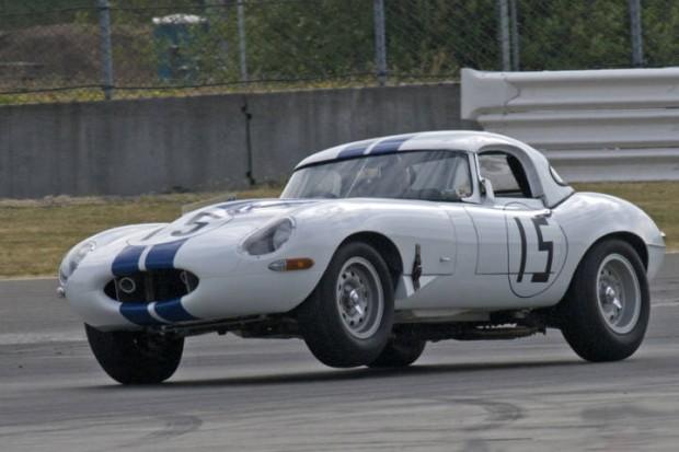 Jeff Mincheff lifts a wheel in his Jaguar XKE Lightweight.