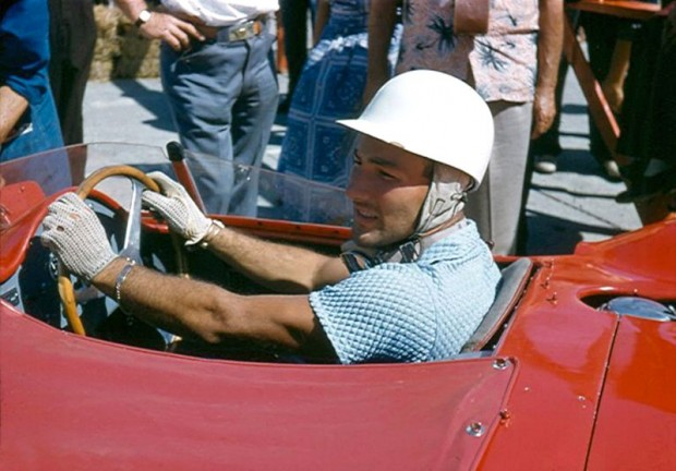 Stirling Moss in his factory Maserati 300S at Sebring 1957