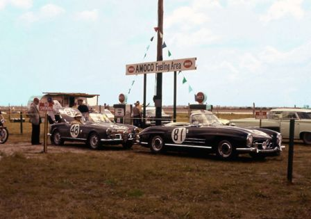 Gassing up at the open gas pumps is the Alfa Romeo Giulietta Veloce of William Milliken and Cameron Argetsinger that finished 27th and the Mercedes-Benz 300 SL of Laurence Gandolfi, Nim York and Paul O'Shea. The Mercedes did not start because they had no spare brakes. BARC boys photo.