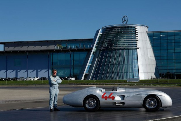 The author tests the Streamliner at Mercedes-Benz World in Surrey, England. (Photo: Laurence Baker)