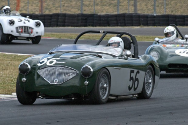 Austin Healey 100M driven by Rich Thomas leads the Lotus Eleven of Tony Hart and the TR3 of Michael Paradise.