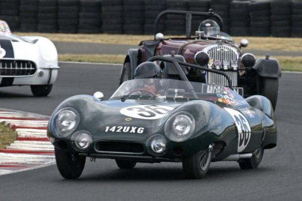 Tony Hart, Lotus Eleven LeMans leads John Miller's Morgan Plus 4 and Noel Park's Corvette.